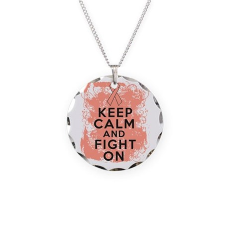 Uterine Cancer Keep Calm Fight On Necklace Circle