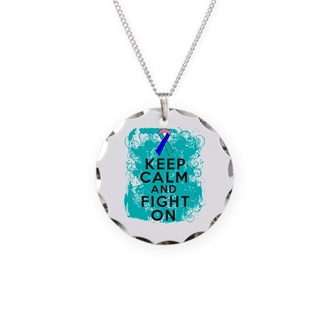 Thyroid Cancer Keep Calm Fight On Necklace Circle