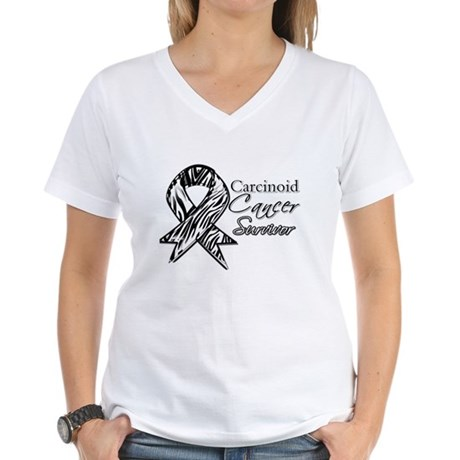 Carcinoid Cancer Survivor Women's V-Neck T-Shirt