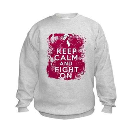 Throat Cancer Keep Calm Fight On Kids Sweatshirt