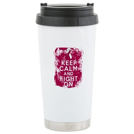 Throat Cancer Keep Calm Fight On Ceramic Travel Mu