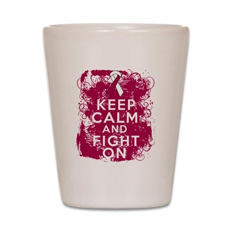 Throat Cancer Keep Calm Fight On Shot Glass