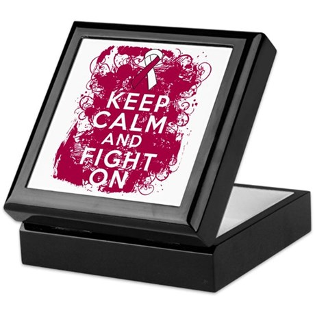 Throat Cancer Keep Calm Fight On Keepsake Box