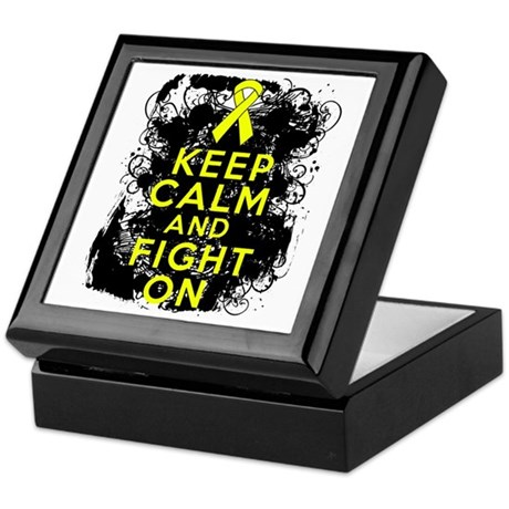 Testicular Cancer Keep Calm Fight On Keepsake Box