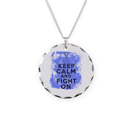 Stomach Cancer Keep Calm Fight On Necklace Circle