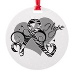 Carcinoid Cancer Hope Ribbon Round Ornament
