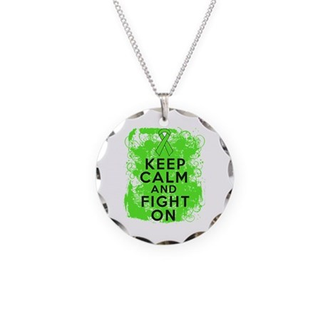 Lymphoma Keep Calm Fight On Necklace Circle Charm