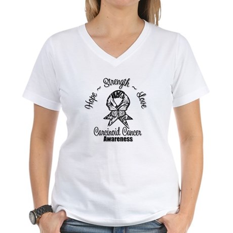 Hope Strength Carcinoid Cancer Women's V-Neck T-Sh