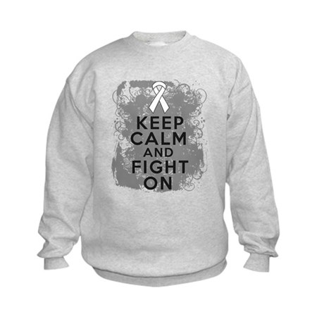 Lung Cancer Keep Calm Fight On Kids Sweatshirt