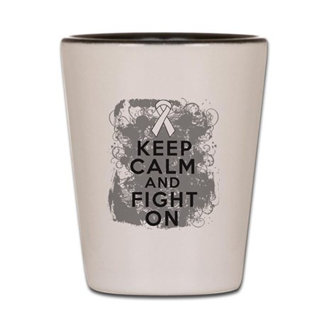 Lung Cancer Keep Calm Fight On Shot Glass