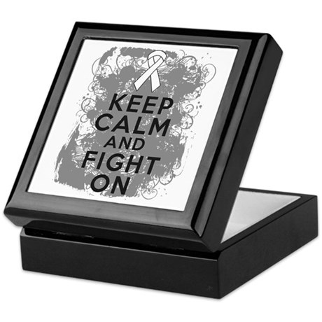 Lung Cancer Keep Calm Fight On Keepsake Box