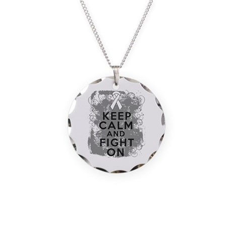 Lung Cancer Keep Calm Fight On Necklace Circle Cha