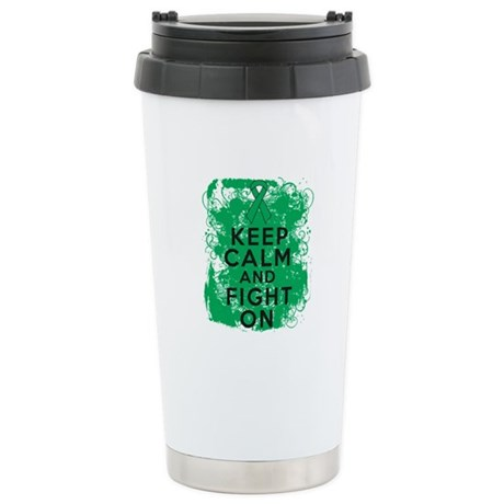 Liver Cancer Keep Calm Fight On Ceramic Travel Mug