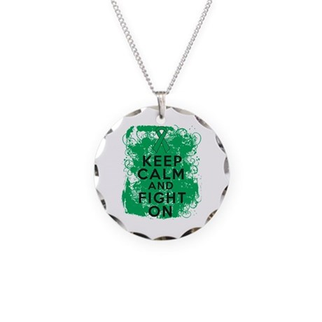 Liver Cancer Keep Calm Fight On Necklace Circle Ch
