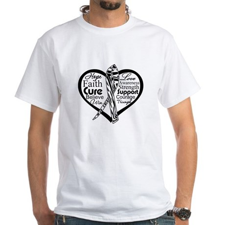 Heart Carcinoid Cancer White T-Shirt