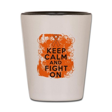 Leukemia Keep Calm Fight On Shot Glass