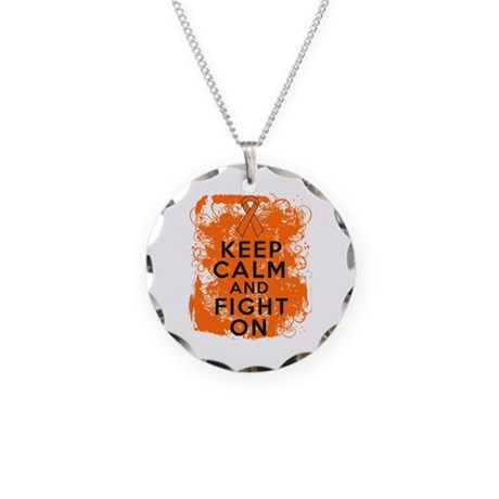 Leukemia Keep Calm Fight On Necklace Circle Charm