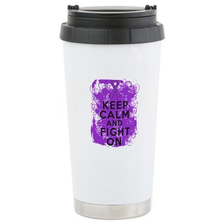 GIST Cancer Keep Calm Fight On Ceramic Travel Mug
