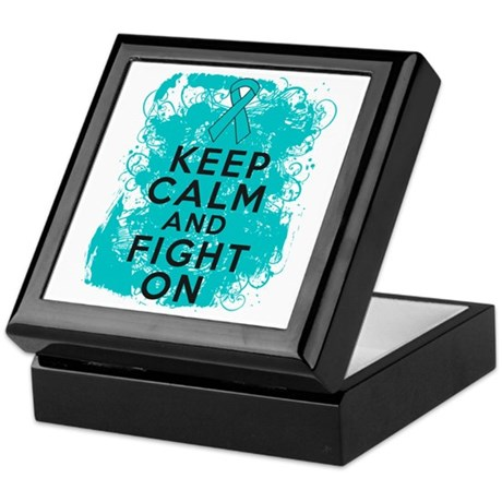 Ovarian Cancer Keep Calm Fight On Keepsake Box