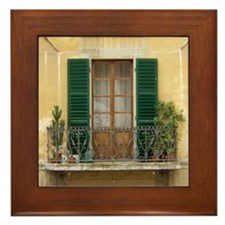 Green Shutters Framed Tile