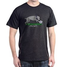 "Weimaraner ""Play Ball"" Black T-Shirt"