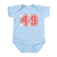 Varsity Uniform Number 49 (Pink) Infant Creeper