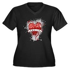 Love Amelia Women's Plus Size V-Neck Dark T-Shirt