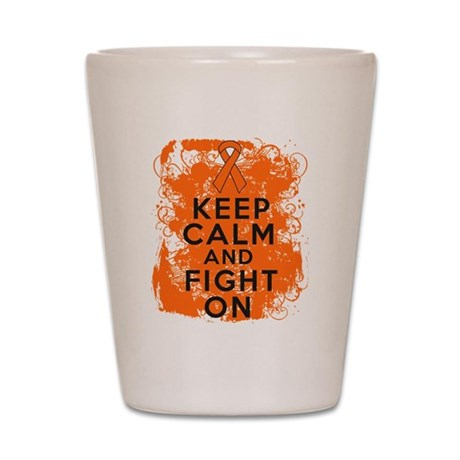 Kidney Cancer Keep Calm Fight On Shot Glass