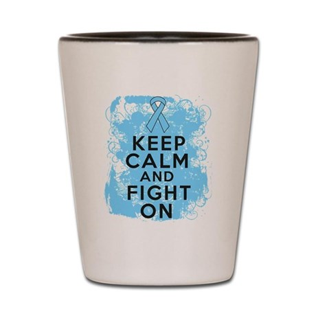 Prostate Cancer Keep Calm Fight On Shot Glass
