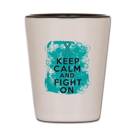 Peritoneal Cancer Keep Calm Fight On Shot Glass