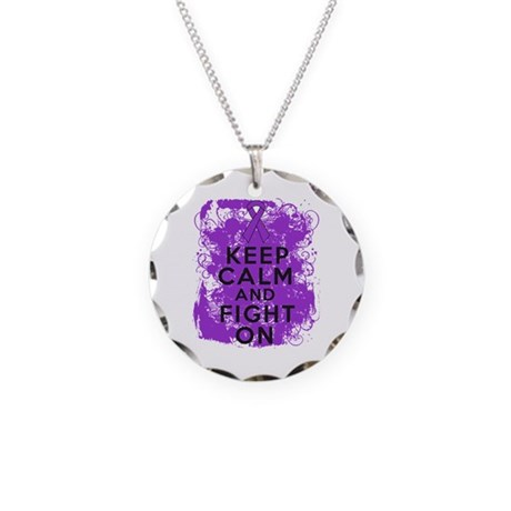 Pancreatic Cancer Keep Calm Fight On Necklace Circ