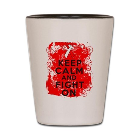 Oral Cancer Keep Calm Fight On Shot Glass