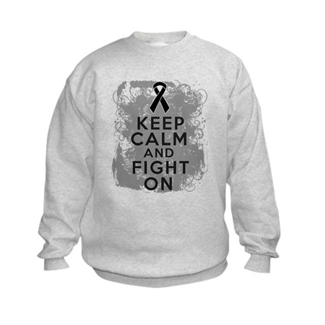 Melanoma Keep Calm Fight On Kids Sweatshirt