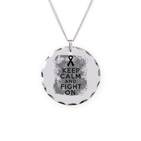 Melanoma Keep Calm Fight On Necklace Circle Charm