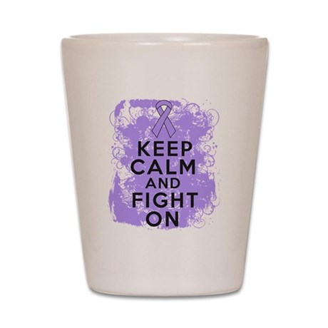 General Cancer Keep Calm Fight On Shot Glass