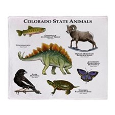 Colorado State Animals Throw Blanket