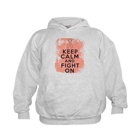 Endometrial Cancer Keep Calm Fight On Kids Hoodie