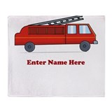 Personalized Fire Truck Throw Blanket