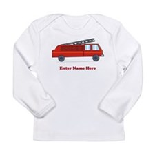 Personalized Fire Truck Long Sleeve Infant T-Shirt