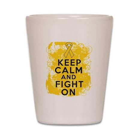 Childhood Cancer Keep Calm Fight On Shot Glass