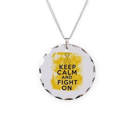 Childhood Cancer Keep Calm Fight On Necklace Circl