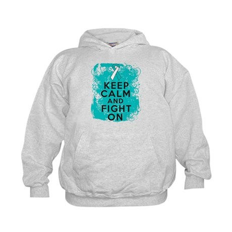 Cervical Cancer Keep Calm Fight On Kids Hoodie