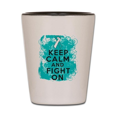 Cervical Cancer Keep Calm Fight On Shot Glass