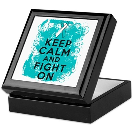 Cervical Cancer Keep Calm Fight On Keepsake Box