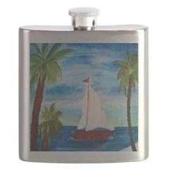 Red Sailboat Flask