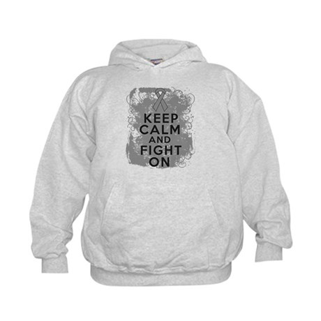 Brain Tumor Keep Calm Fight On Kids Hoodie