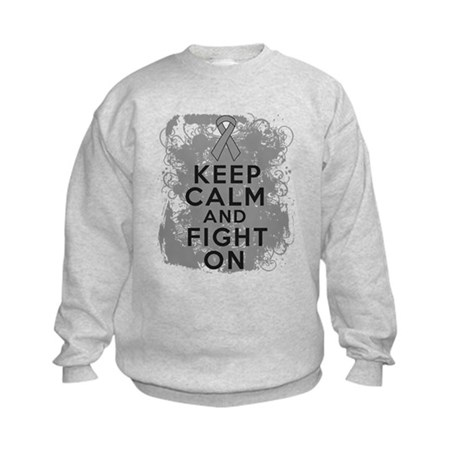 Brain Tumor Keep Calm Fight On Kids Sweatshirt