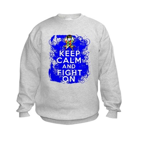 Autism Keep Calm Fight On Kids Sweatshirt