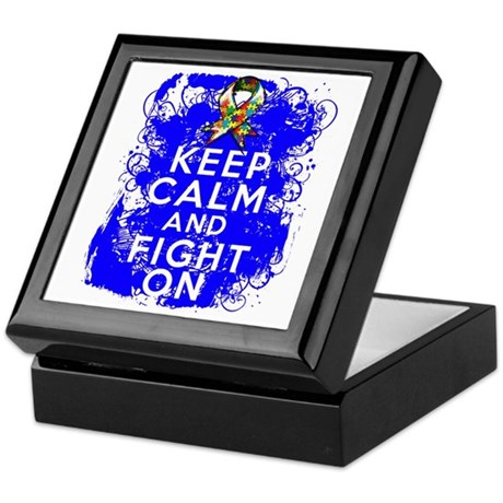 Autism Keep Calm Fight On Keepsake Box