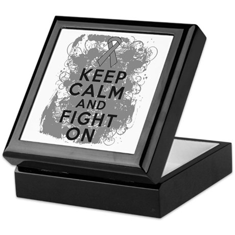 Brain Cancer Keep Calm Fight On Keepsake Box